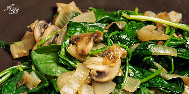 Featured Recipe Sauteed Spinach and Caramelized Onions